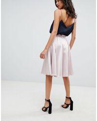 Closet Pink Sateen Midi Skirt