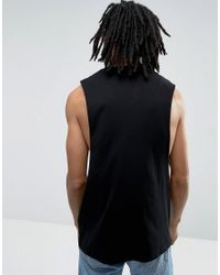 ASOS Black Tu Pac Sleeveless T-shirt With Extreme Dropped Armhole for men