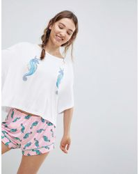 7a2c2d0773 Chelsea Peers Seahorse Short Pajamas in White - Lyst