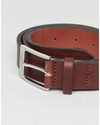 Cintura slim elegante in pelle marrone con estremit in rilievo di ASOS in Brown da Uomo