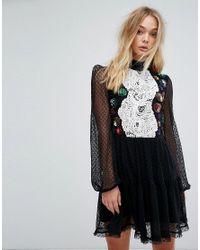 Millie Mackintosh Black Embellished Detail Mini Dress