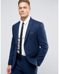 ASOS Slim Suit Jacket In Bright Blue Harris Tweed Herringbone In 100% Wool for men