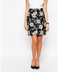Warehouse Black Jacquard Floral Skirt - Multi