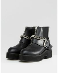 ASOS Black Rossi Chunky Hardware Boots