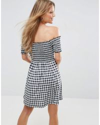 ASOS Multicolor Off Shoulder Sundress With Shirring In Gingham