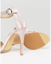 Truffle Collection - Natural Round Buckle Skinny Heeled Sandals - Lyst