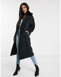 Helene Berman Double Breasted Oversized Coat With Faux Fur Collar-black