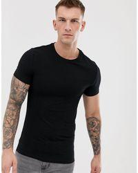 T-shirt girocollo attillata di ASOS in Black da Uomo