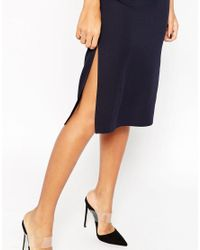 ASOS | Black High Neck Column Dress | Lyst