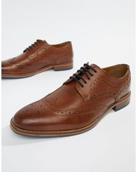 River Island Brown Leather Brogues for men