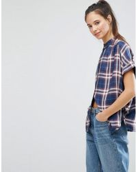 ONLY Blue Batwing Check Shirt