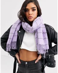 Écharpe oversize à carreaux - Lilas Missguided en coloris Purple