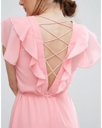 New Look - Pink Ruffle Sleeve Lattice Back Midi Dress - Lyst