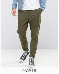 ASOS Green Tapered Chinos In Khaki for men