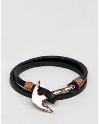 Seven London - Metallic Leather Wrap Anchor Bracelet In Rose Gold for Men - Lyst