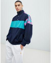 ASOS Blue Oversized Sweatshirt In Fleece With Track Neck And Print Panels for men