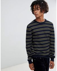 Pull&Bear Blue Sweater In Navy With Stripes for men