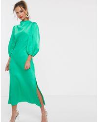 Атласное Чайное Платье Миди Со Свободным Воротом И Рукавами-фонариками ASOS, цвет: Green