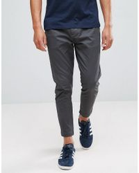 Only & Sons Gray Cropped Chino In Tapered Fit for men