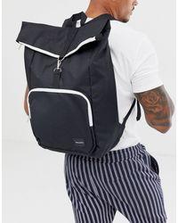Черный Рюкзак С Контрастными Белыми Молниями И Отворотом Сверху ASOS для него, цвет: Multicolor