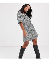 TOPSHOP Multicolor Petite Belted Shirt Dress