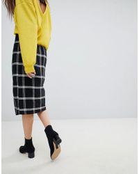 256250190b1753 Jupe portefeuille mi-longue carreaux avec ceinture noue Bershka en coloris  Multicolor