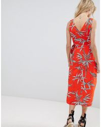 Warehouse Red Wrap Detail Bamboo Print Midi Dress