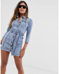 Vestito di jeans con cintura di Miss Sixty in Blue