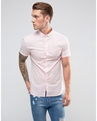 11 Degrees Skinny Fit Shirt In Pink for men