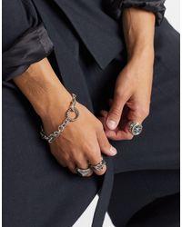 Серебристый Браслет 9 Мм С Отделкой ASOS для него, цвет: Metallic