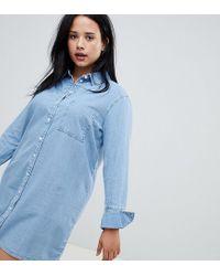 ASOS DESIGN Curve - Vestito camicia di jeans blu con polsini ampi di ASOS in Blue