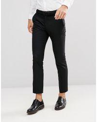 SELECTED Black Slim Tuxedo Suit Pants for men