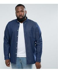 ASOS - Blue Plus Slim Denim Shirt With Stretch With Chest Pocket In Rinse Wash for Men - Lyst
