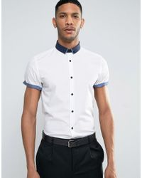 New Look White Regular Fit Smart Shirt With Contrast Collar And Sleeve Trims for men