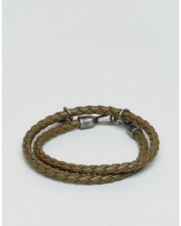 DIESEL - Green A-lucy Wrap Leather Bracelet In Olive - Lyst