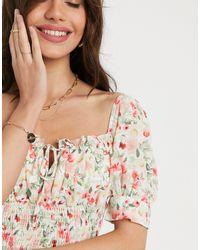 Топ С Квадратным Вырезом И Цветочным Принтом -белый Fashion Union, цвет: Multicolor