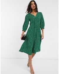Y.A.S Green Midi Dress With V Neck