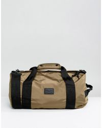 ASOS - Green Barrel Bag In Khaki Satin for Men - Lyst