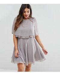 ASOS Gray Embellished Trim Double Ruffle Crop Top Skater Dress