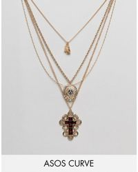 ASOS Metallic Asos Design Curve Exclusive Multirow Necklace With Choker And Crystal Vintage Icon And Cross Pendant In Gold