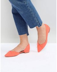 ASOS Orange Asos Legendary Pointed Ballet Flats