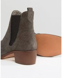 H by Hudson - Gray H By Hudson Kitten Heel Suede Chelsea Boot - Lyst