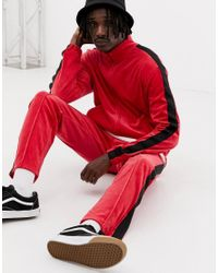 Weekday Track Velour Sweatshirt In Red for men