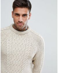 Bershka - Multicolor Chunky Cable Knit Jumper In Ecru for Men - Lyst