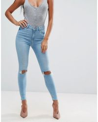 ASOS Blue Ridley Skinny Jeans In Felix Mid Stonewash With Busted Knees And Chewed Hems