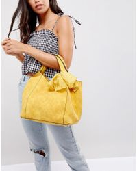 Oasis - Yellow Slouch Bag With Detachable Scarf - Lyst