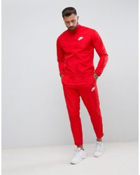 Nike Woven Tracksuit Set In Red 861778-657 for men