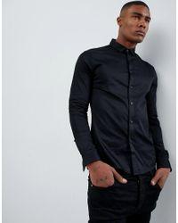 Camisa ajustada de satén con tapeta con vuelta en negro ASOS de hombre de color Black