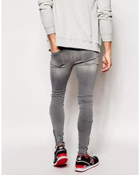 ASOS Gray Asos Extreme Super Skinny Jeans With Zipped Hems for men