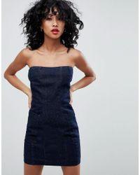 ASOS Blue Denim Strapless Dress